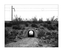 Road tunnel passing under the railway at Caspe