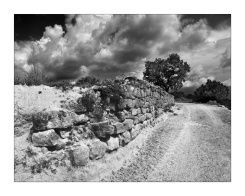 Stone retaining wall at Adahuesca