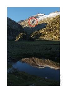 Figura 2. El círculo en rojo indica la posición de una morrena lateral del antiguo Glaciar del Aneto.