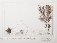 Le Mont Saint Michel. Plate of 80x125mm (Puretch film on copperplate). Image size, 70x115mm. Ink Charbonnel Aqua Wash Sèpia Naturelle over Hahnemühle Bamboo paper of 265g/m2
