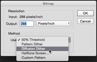 Selección de la opción Diffusion Dither en el cuadro de diálogo de Adobe Photoshop para aplicar tramado estocástico en el Modo de Imagen Bitmap (click en la imagen para observar una versión ampliada).